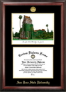 Campus Images CA929LGED San Jose State University Gold embossed diploma frame with Campus Images lithograph