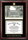 Campus Images CO999LGED Colorado State University Gold embossed diploma frame with Campus Images lithograph