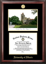 Campus Images IL976LGED University of Illinois - Urbana-Champaign Gold embossed diploma frame with Campus Images lithograph