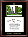 Campus Images MA990LGED University of Massachusetts Gold embossed diploma frame with Campus Images lithograph