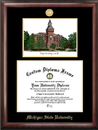 Campus Images MI988LGED Michigan State University - Linton Hall - Gold embossed diploma frame with Campus Images lithograph