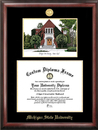 Campus Images MI990LGED Michigan State University - Alumni Chapel - Gold embossed diploma frame with Campus Images lithograph