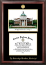 Campus Images MS998LGED Southern Mississippi Gold embossed diploma frame with Campus Images lithograph