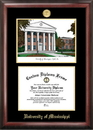 Campus Images MS999LGED University of Mississippi Gold embossed diploma frame with Campus Images lithograph