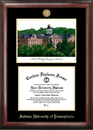 Campus Images PA995LGED Indiana Univ - PA Gold embossed diploma frame with Campus Images lithograph