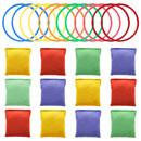 Muka 12 PCS Cornhole Bean Bags Carnival Game Sets, Bean Bags & Plastic Rings for Party Garden Outdoor Toss Game Supplies