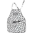 Wahl Paw Print Grooming Apron, Black/White Paw Print Pattern with Gray Lining