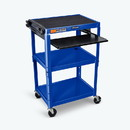 Luxor AVJ42KB-RB Adjustable Height AV Cart STEEL, L: 18, H: 24-42, W: 24, Royal Blue in Color