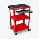 Luxor AVJ42KB-RD 42 Inch Adjustable Height Mobile AV Tables with Keyboard, Red in Color, STEEL, L: 18, H: 24-42, W: 24