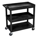 Luxor EC112-B 18 x 32 Cart 2 Tub / 1 Flat Shelves, Black