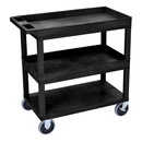 Luxor EC112HD-B 18 x 32 Cart 2 Tub / 1 Flat Shelves, Black, 18