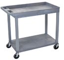 Luxor EC12-G 18 x 32 Cart 1 Tub / 1 Flat Shelves, Gray