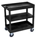 Luxor EC121HD-B Cart 2 Tub / 1 Flat Shelves, 18