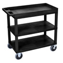 Luxor EC122HD-B 18 x 32 Cart 2 Flat / 1 Tub Shelves, Black, 18