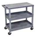 Luxor EC211-G 18 x 32 Cart 2 Tub / 1 Flat Shelves, Gray