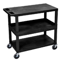 Luxor EC212-B 18 x 32 Cart 2 Flat / 1 Tub Shelves, Black