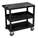 Luxor EC212HD-B 18 x 32 Cart 2 Flat / 1 Tub Shelves, Black