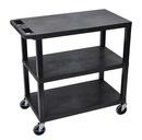 Luxor EC222-B 18 x 32 Cart 3 Flat shelves, Black