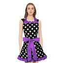 TOPTIE Polka Dots Apron for Women, Retro Vintage Apron with Pockets, Adjustable Cotton Apron