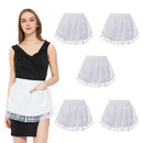 TOPTIE 6 PCS Waist Aprons with Two Pockets Lace Aprons for Women Cotton Kitchen Cooking Aprons