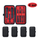 4 Set Manicure Set 7 in 1 Beauty Nail Clipper Tools Stainless Steel Beauty Grooming Tools Black Gift