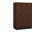 Salsbury Industries 11361DRK Solid Oak Executive Wood Locker - Single Tier - 3 Wide - 6 Feet High - 21 Inches Deep - Dark Oak