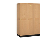 Salsbury Industries 11361LGT Solid Oak Executive Wood Locker - Single Tier - 3 Wide - 6 Feet High - 21 Inches Deep - Light Oak