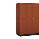 Salsbury Industries 11361MED Solid Oak Executive Wood Locker - Single Tier - 3 Wide - 6 Feet High - 21 Inches Deep - Medium Oak