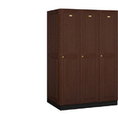 Salsbury Industries 11364DRK Solid Oak Executive Wood Locker - Single Tier - 3 Wide - 6 Feet High - 24 Inches Deep - Dark