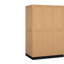 Salsbury Industries 11364LGT Solid Oak Executive Wood Locker - Single Tier - 3 Wide - 6 Feet High - 24 Inches Deep - Light