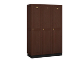 Salsbury Industries 11368DRK Solid Oak Executive Wood Locker - Single Tier - 3 Wide - 6 Feet High - 18 Inches Deep - Dark Oak