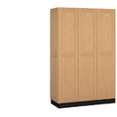 Salsbury Industries 11368LGT Solid Oak Executive Wood Locker - Single Tier - 3 Wide - 6 Feet High - 18 Inches Deep - Light Oak