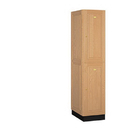 Salsbury Industries 12161LGT Solid Oak Executive Wood Locker - Double Tier - 1 Wide - 6 Feet High - 21 Inches Deep - Light Oak