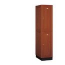 Salsbury Industries 12161MED Solid Oak Executive Wood Locker - Double Tier - 1 Wide - 6 Feet High - 21 Inches Deep - Medium Oak