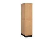 Salsbury Industries 12164LGT Solid Oak Executive Wood Locker - Double Tier - 1 Wide - 6 Feet High - 24 Inches Deep - Light