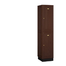 Salsbury Industries 12168DRK Solid Oak Executive Wood Locker - Double Tier - 1 Wide - 6 Feet High - 18 Inches Deep - Dark Oak