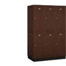 Salsbury Industries 12361DRK Solid Oak Executive Wood Locker - Double Tier - 3 Wide - 6 Feet High - 21 Inches Deep - Dark Oak