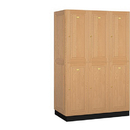 Salsbury Industries 12361LGT Solid Oak Executive Wood Locker - Double Tier - 3 Wide - 6 Feet High - 21 Inches Deep - Light Oak