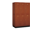 Salsbury Industries 12361MED Solid Oak Executive Wood Locker - Double Tier - 3 Wide - 6 Feet High - 21 Inches Deep - Medium Oak