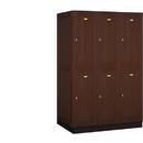 Salsbury Industries 12364DRK Solid Oak Executive Wood Locker - Double Tier - 3 Wide - 6 Feet High - 24 Inches Deep - Dark