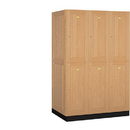 Salsbury Industries 12364LGT Solid Oak Executive Wood Locker - Double Tier - 3 Wide - 6 Feet High - 24 Inches Deep - Light