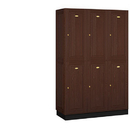 Salsbury Industries 12368DRK Solid Oak Executive Wood Locker - Double Tier - 3 Wide - 6 Feet High - 18 Inches Deep - Dark Oak