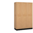 Salsbury Industries 12368LGT Solid Oak Executive Wood Locker - Double Tier - 3 Wide - 6 Feet High - 18 Inches Deep - Light Oak