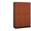 Salsbury Industries 12368MED Solid Oak Executive Wood Locker - Double Tier - 3 Wide - 6 Feet High - 18 Inches Deep - Medium Oak