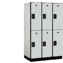 Salsbury Industries 22364GRY Extra Wide Designer Wood Locker - Double Tier - 3 Wide - 6 Feet High - 24 Inches Deep - Gray