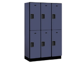 Salsbury Industries 22368BLU Extra Wide Designer Wood Locker - Double Tier - 3 Wide - 6 Feet High - 18 Inches Deep - Blue