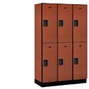 Salsbury Industries 22368CHE Extra Wide Designer Wood Locker - Double Tier - 3 Wide - 6 Feet High - 18 Inches Deep - Cherry