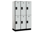Salsbury Industries 22368GRY Extra Wide Designer Wood Locker - Double Tier - 3 Wide - 6 Feet High - 18 Inches Deep - Gray