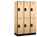 Salsbury Industries 22368MAP Extra Wide Designer Wood Locker - Double Tier - 3 Wide - 6 Feet High - 18 Inches Deep - Maple