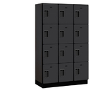 Salsbury Industries 24368BLK Extra Wide Designer Wood Locker - Four Tier - 3 Wide - 6 Feet High - 18 Inches Deep - Black